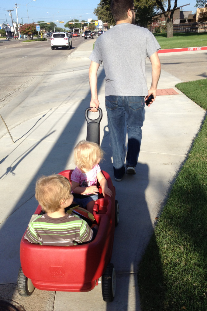 Walking to school in our wagon