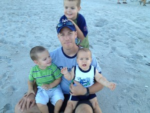 Husband with Kids at Beach