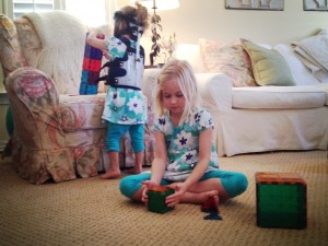 Girls playing with magnatiles