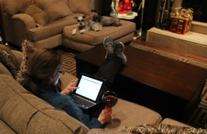 Believe it or not, writing and/or working is my time to unwind.  And the wine helps a lil too.