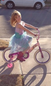 The chance to ride a bike in a princess dress in the middle of the day...this is what homeschooling means to us...