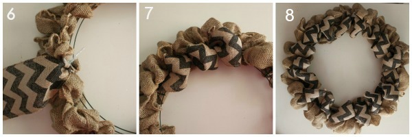 DIY Burlap Chevron Fall Wreath