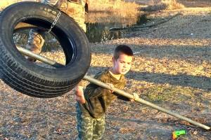Zach pushing tire