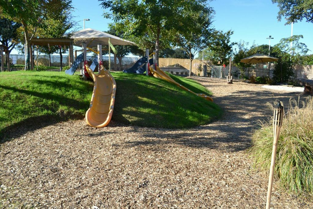 Use natural variations in landscape to your advantage, this small hill was turned into a slide.