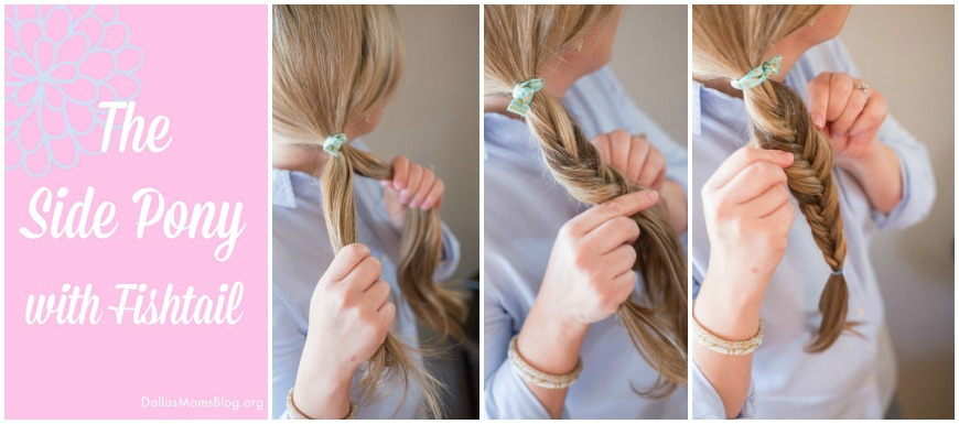 Side ponytail fishtail easy mom hairstyle
