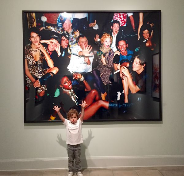 Walker joining in on one of Mario Testino's famous photographs at the MATE Museum in Lima