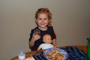 My 3 year old daughter sitting down to the same homemade enchiladas she would refuse to eat two years later