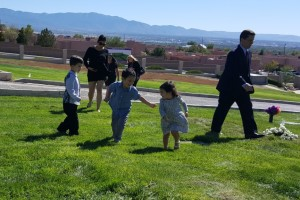Kids playing at funeral