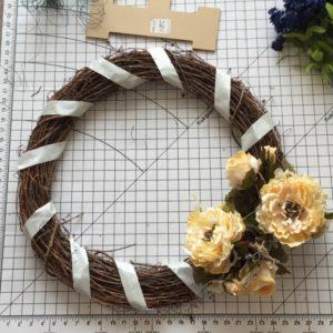 Cream floral fall wreath