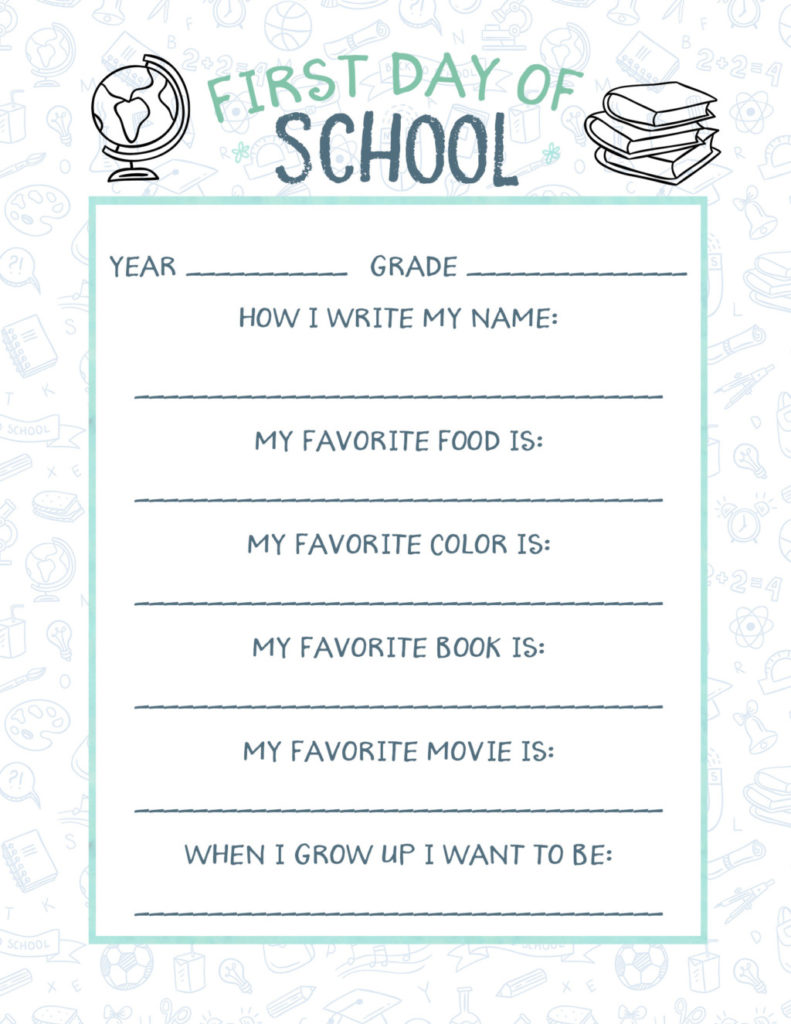Free Printable Back to School Questionnaire - Megan Harney for Dallas Moms Blog 1