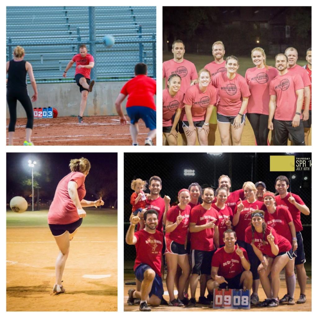 group of photos of kickball