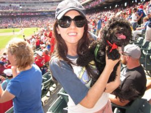 My dog and I enjoying some Rangers baseball before baby. For the record, I have never taken my child to a baseball game.