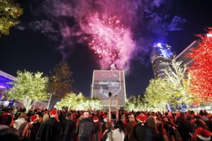 People enjoy fireworks and the dazzling display of more than 550,000 LED lights during the Reliant Lights Your Holidays at the AT&T Performing Arts Center on Saturday, Dec 5, 2015, in Dallas, TX. (Photo by Brandon Wade/Invision for Reliant/AP Images)