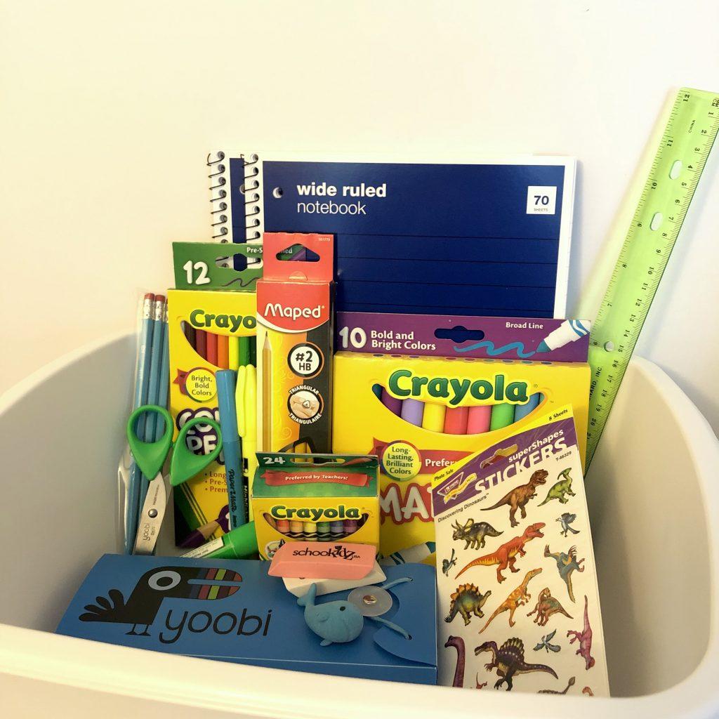 school supplies in a box